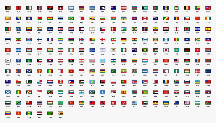 Country Flags of the World Ontworpen in 30x20 pixels. vector
