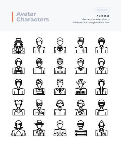 Gedetailleerde Vector lijn Icons Set van mensen en Avatar. 64x64 pixel Perfecte en bewerkbare beroerte.