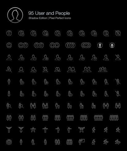 Gebruiker en mensen Pixel Perfect Icons (lijnstijl) Shadow Edition. vector