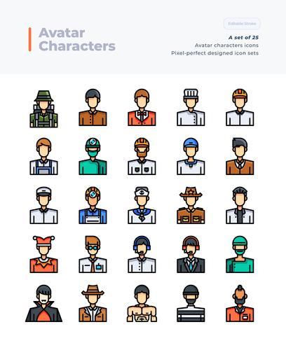 Gedetailleerde Vector Color Line Icons Set van Poeple en Avatar .64x64 Pixel Perfect and Editable Stroke.