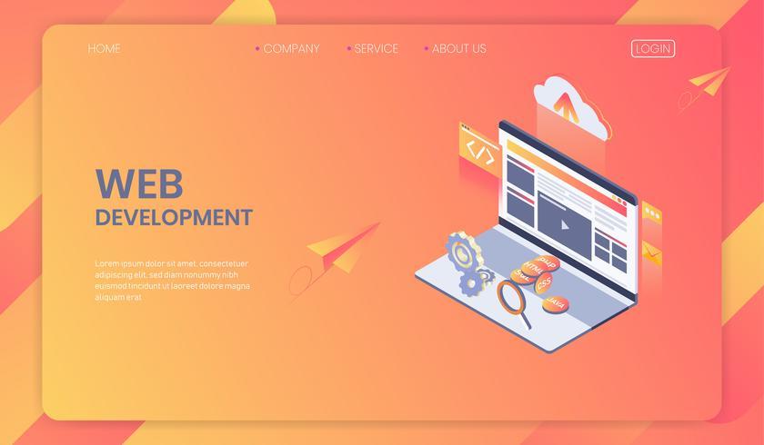 Webontwikkeling isometrisch concept, Seo-analysesysteem en modern webontwerp, programma en app-ontwikkeling. vector