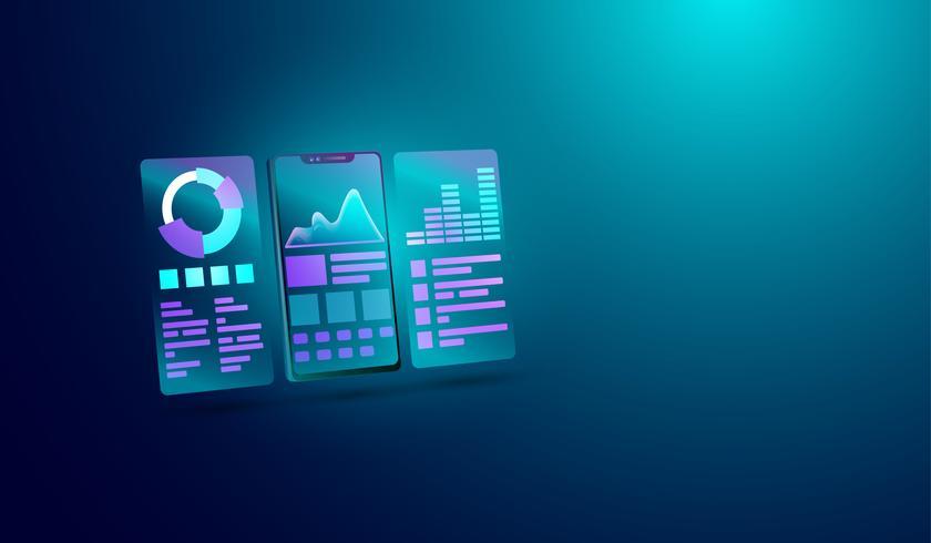Gegevensanalyseconcept op het smartphonescherm, diagram van gegevens, financiële analyse en beheer. Vector