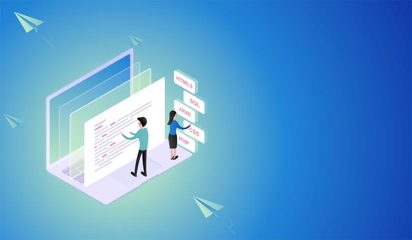 Verwerking van software en programmering ontwikkeling Isometrisch concept, beste programmeertalen en ontwikkelaar teamwerk Vector