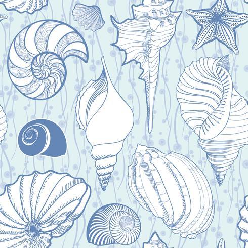 Zeeschelp naadloze patroon. Zomervakantie mariene achtergrond vector