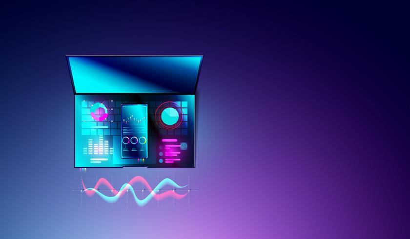 Financieel analyseconcept statistieken op smartphone en laptop met diagrammen of grafiek, gegevensanalyse en bedrijfsplanningsgrafiek op hoogste meningen van computer vector
