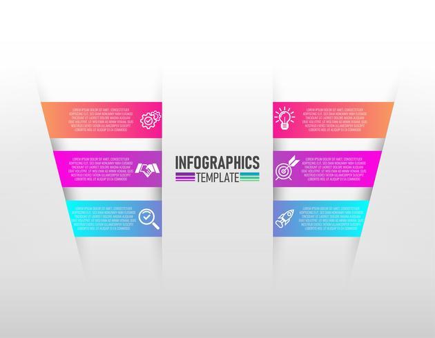 infographics ontwerp vector en marketing pictogrammen met 6 stappen vector.
