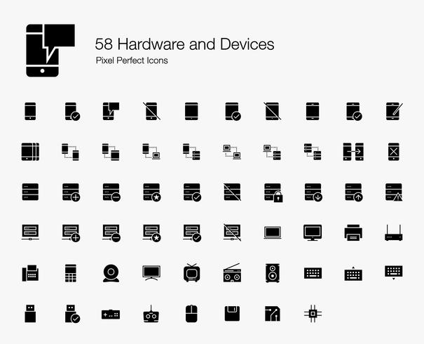 58 Hardware en apparaten Pixel Perfect Icons (Filled Style). vector