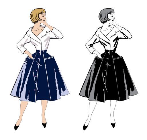 Stijlvolle stoffen vrouw. Mode gekleed meisje 1960 stijl: Retro-jurk partij vector