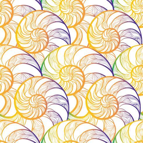 Abstract spiraalvormig naadloos patroon. Golf nautilus mariene achtergrond vector
