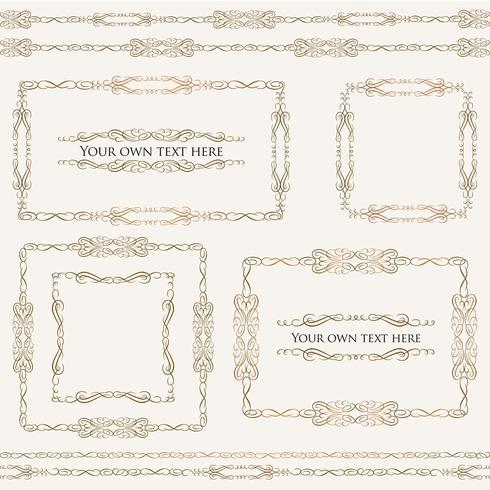 Kalligrafische bloemenkaders. Pagina-inrichting vignetranden, verdelers ingesteld vector