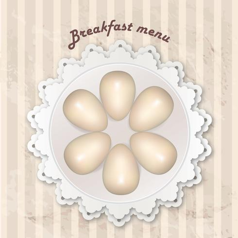Ontbijtmenu met gekookte eieren over naadloos retro patroon. vector