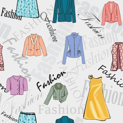 Mode doek naadloze patroon. De kleinhandelsvrouwen kleden verkoopachtergrond vector