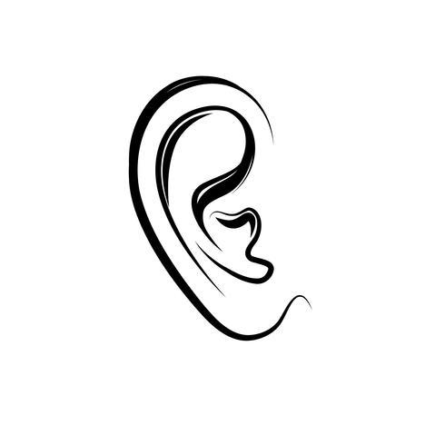 Oor graveren pictogram. Menselijk oor dat over witte achtergrond wordt geïsoleerd vector