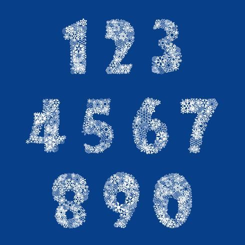 Nummers instellen van sneeuwvlok. Zie ook achtergrond vector