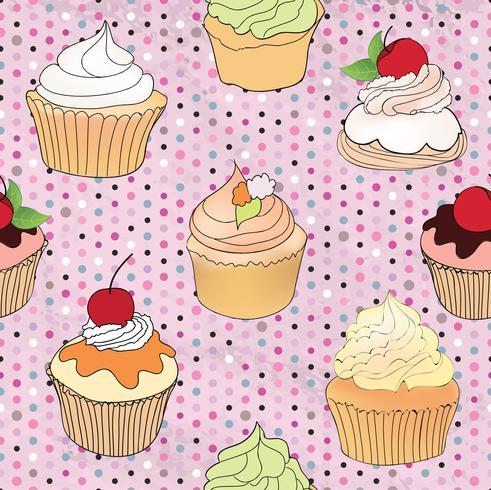 Cake patroon. Cafe menutegel achtergrond. Cupcake Dessert Poster vector