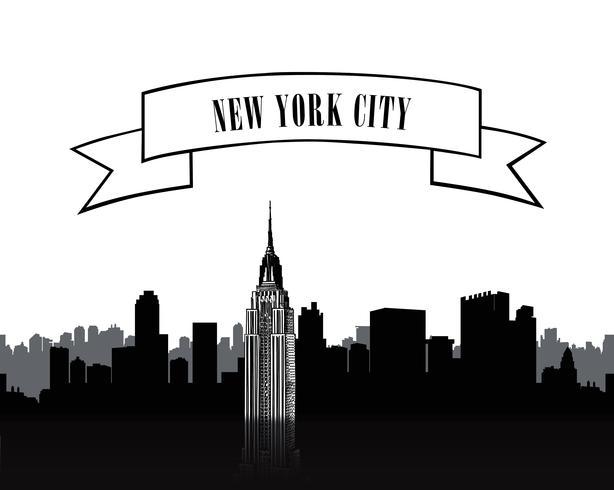 NYC-teken. Stedelijke stad skyline van silhouet. Reis VS achtergrond vector