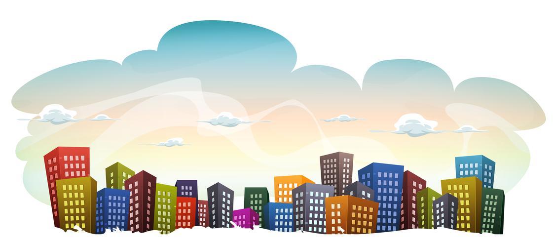 Cityscape met gebouwen op hemelachtergrond vector