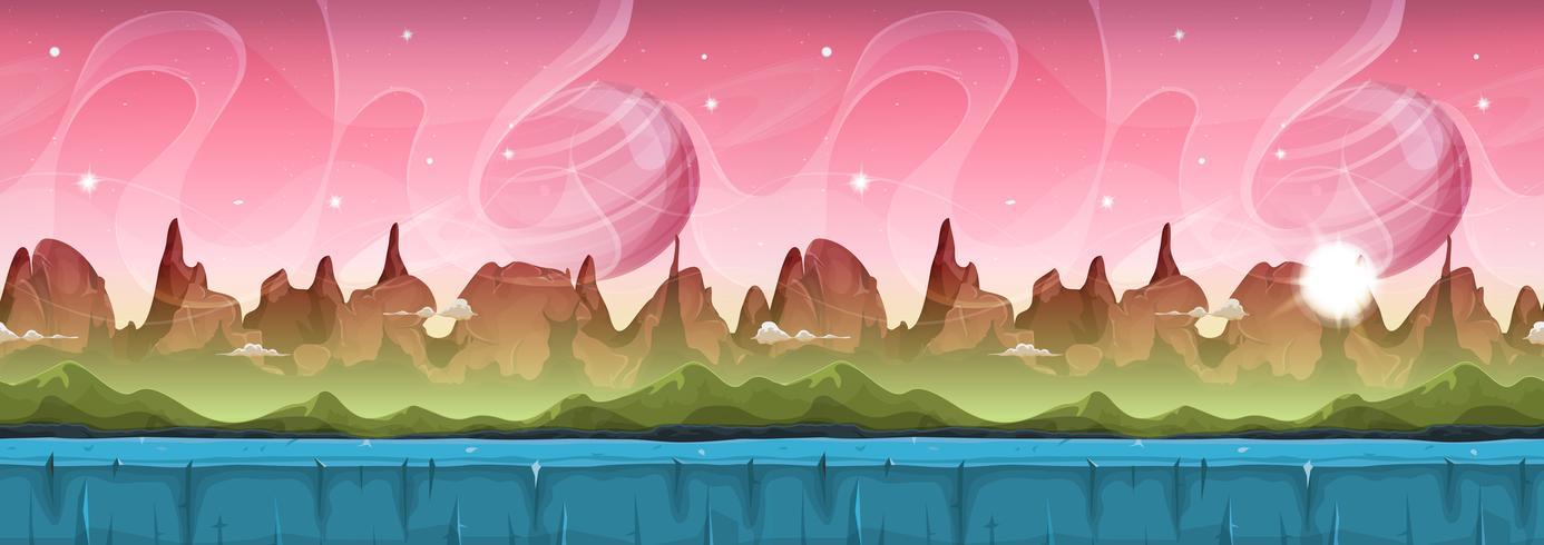 Fairy Sci-fi Alien Landscape voor Ui Game vector