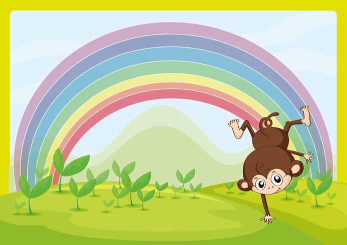 Een dansende aap en een regenboog vector