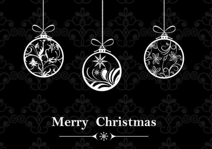 Zwart-wit Kerst Ornament Wallpaper Vector