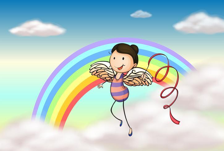 Een engel in de buurt van de regenboog vector