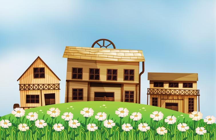 Verschillende stijlen van houten huizen vector