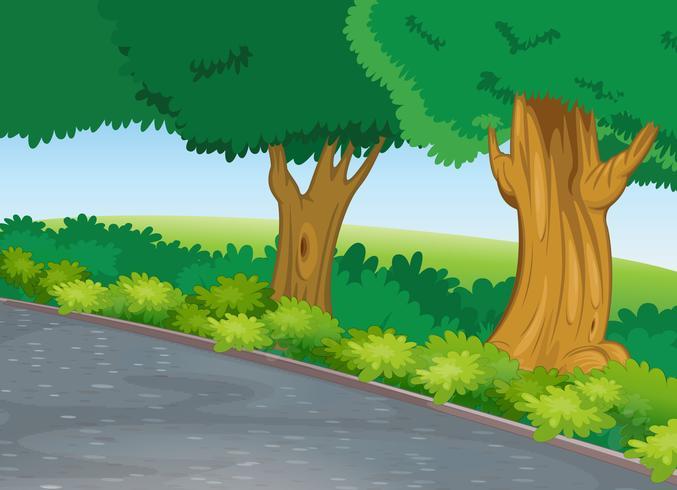 boom naast de weg vector