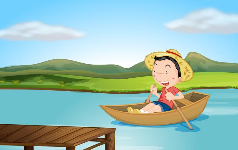 Een jongen die een boot roeit vector