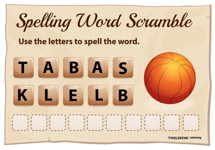 Het spellingswoord gooit spel voor woordbasketbal door elkaar vector