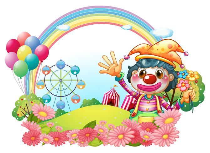 Een vrouwelijke clown die haar handen dichtbij de tuin golft vector