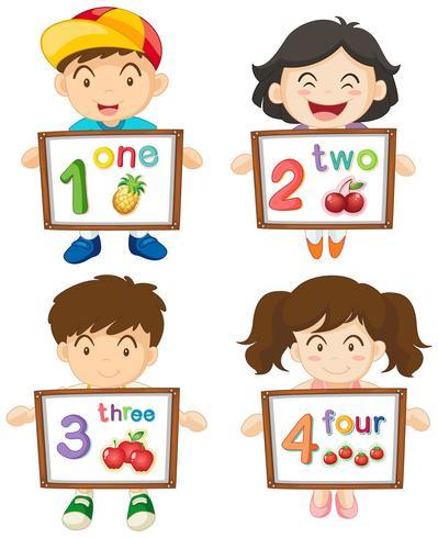 Kinderen met cijfers één tot vier op borden vector