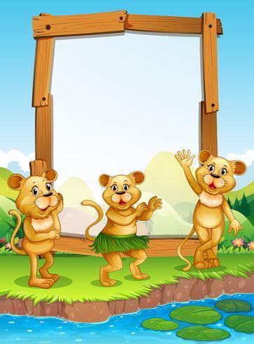 Grensontwerp met drie leeuwen bij de rivier vector