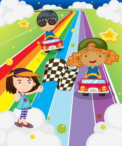 Een autorace op de kleurrijke weg vector