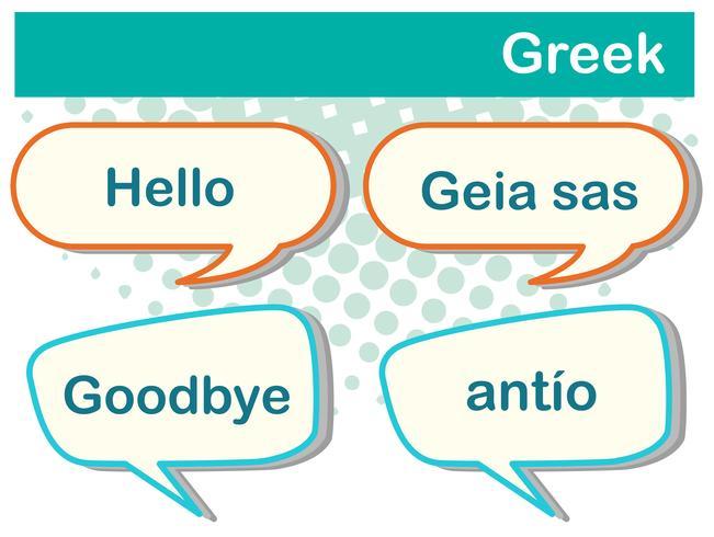Groetwoorden in het Grieks vector
