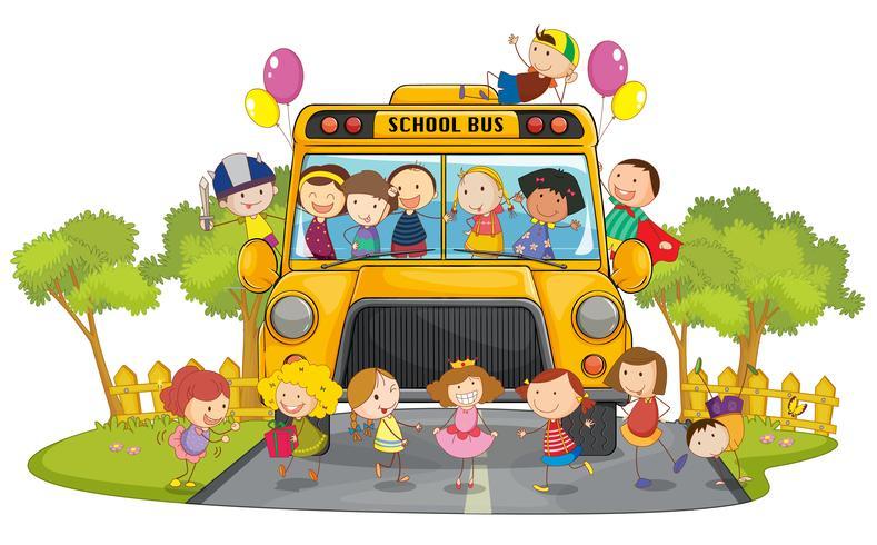kinderen en schoolbus vector