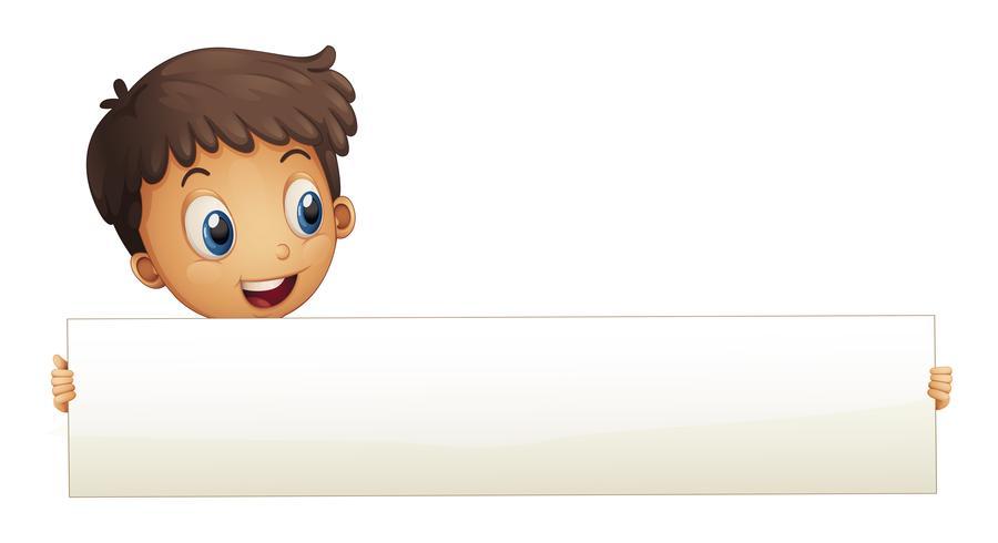 Een kleine jongen die een lege banner houdt vector