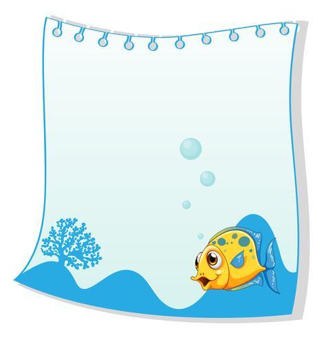 Een leeg papier met een gele vis onderaan vector