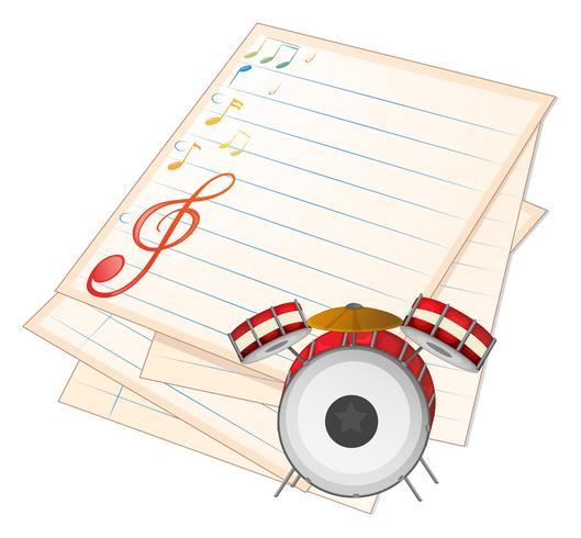 Een leeg muziekpapier met een trommel vector