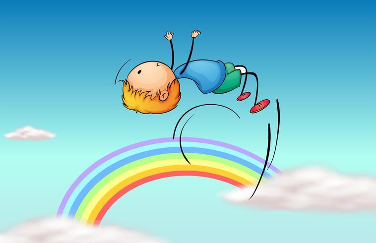 Een jongen die in de lucht en een regenboog springt vector