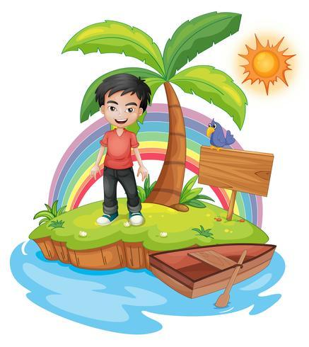 Een eiland met een jongen in de buurt van de lege bewegwijzering vector