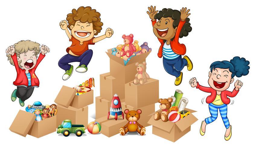 Kinderen en dozen met speelgoed vector