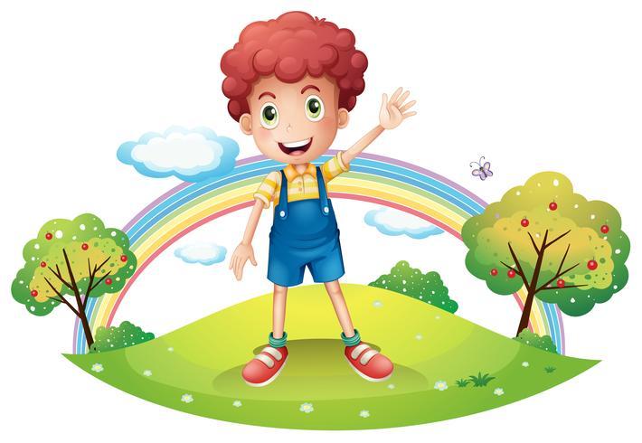 Een jongen zwaait met zijn hand vector
