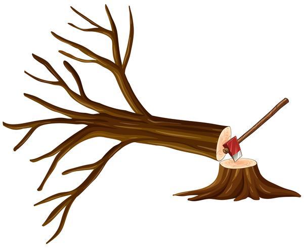 Ontbossingsscène met gehakte boom vector