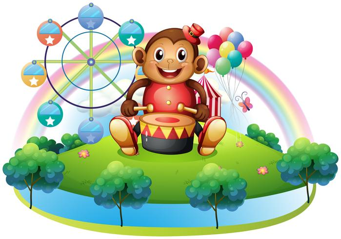 Een muzikale aap in de buurt van het reuzenrad vector