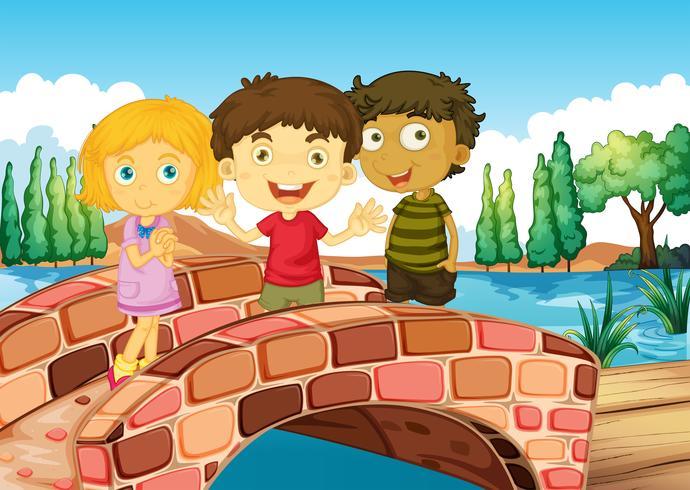 Drie kinderen op de brug vector