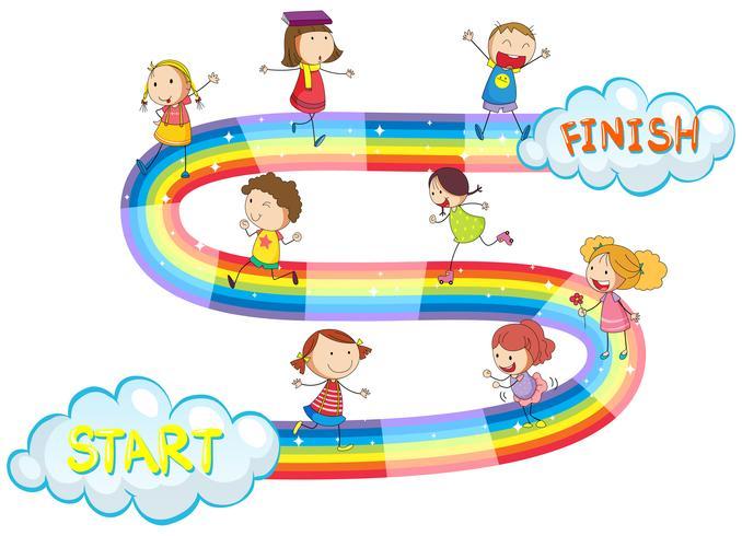 Spelsjabloon met veel kinderen op regenboog vector