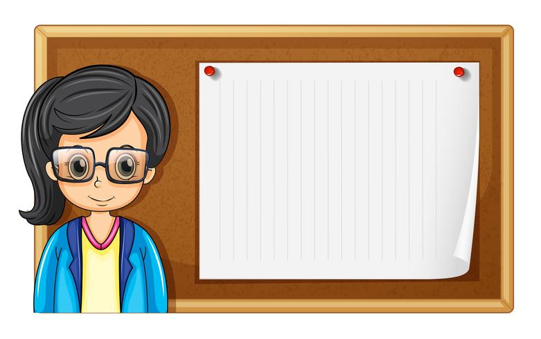 Vrouw met een bril en karton vector