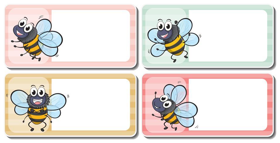 Labelontwerp met vliegende bijen vector