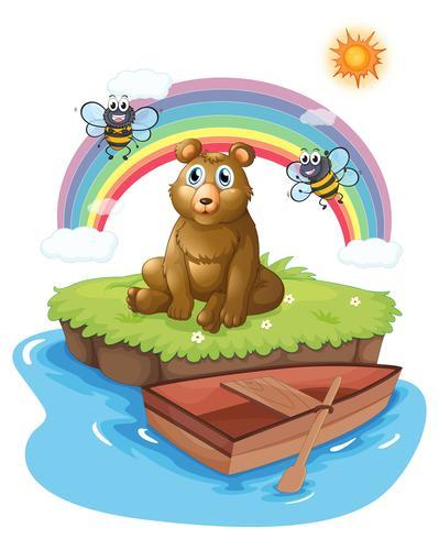 Een beer op een eiland met twee bijen vector