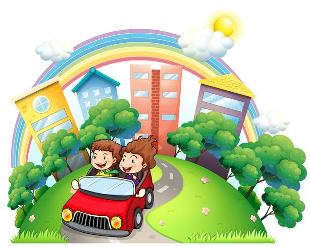 Een meisje en een jongen rijden op de auto langs de weg vector